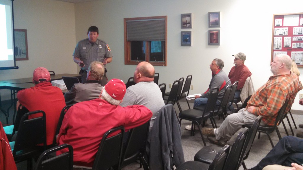 NGPC's Colby Johnson addresses attendees at the Ogallala Stakeholder Meeting.