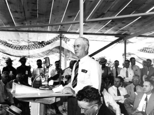 Chief engineer George E Johnson at dedication of Kingsley Dam